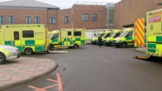 Ambulances parked outside Norfolk and Norwich Hospital