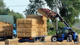 Stacking bales of hay in Cassel, northern France