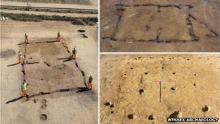 Three of the Early Neolithic houses discovered at Kingsmead Quarry, Horton