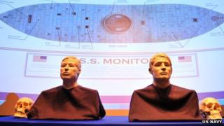 The facial reconstruction of two Sailors whose remains were discovered inside the gun turret of the USS Monitor 6 March 2013