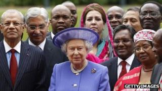Queen with Commonwealth heads