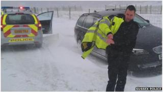 Police officer on A259