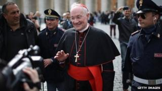 Canadian cardinal Marc Ouellet leaves the final congregation before cardinals enter the conclave to vote for a new pope, on 11 March 2013 in Vatican City, Vatican