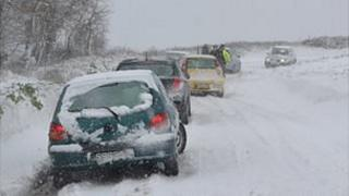 Cars in snow in Guernsey