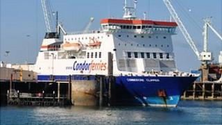 Commodore Clipper in Guernsey's St Peter Port Harbour