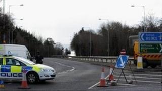 Motorway blocked by police vehicles
