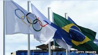 The Olympic and Brazilian flags