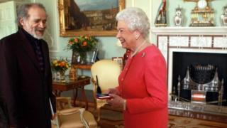 The Queen holds an audience with poet John Agard at Buckingham Palace on 12 March