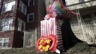 A makeshift memorial for Jonylah Watkins Chicago, 12 March 2013
