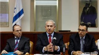 Benjamin Netanyahu at a cabinet meeting (file photo)