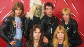 Clive Burr (far left) with other members of the early Iron Maiden line-up