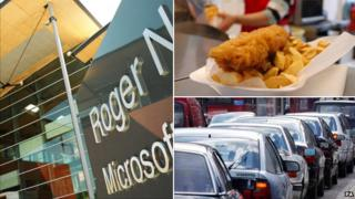 Microsoft Cambridge, fish and chips and traffic