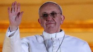 Pope Francis I greet crowds in St Peter's Square