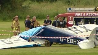 Crashed aircraft at Old Warden aerodrome