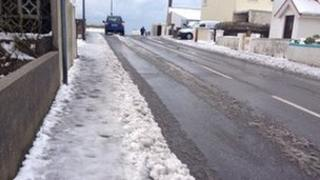 Icy pavements in St Clement