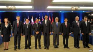 US President Barack Obama with leaders of other Trans-Pacific Partnership member countries