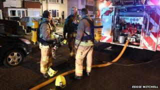 Firefighters at the scene of the blaze in Brighton Road, Lancing
