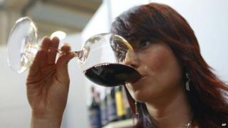 Glass of Brunello di Montalcino being drunk