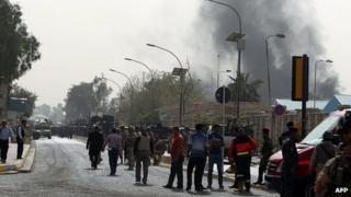 Scene near the bomb attacks in Baghdad. 14 March 2013