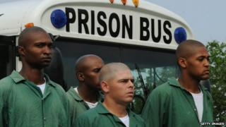 Prisoners on a bus