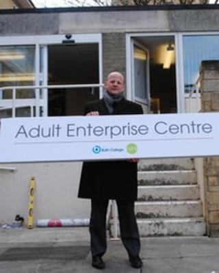 Matt Atkinson outside the Bath Adult Enterprise Centre