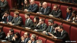 Members of Italy's Five-Star Movement on their first day in parliament