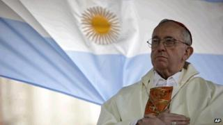 File picture of Cardinal Jorge Bergoglio celebrating Mass in Buenos Aires