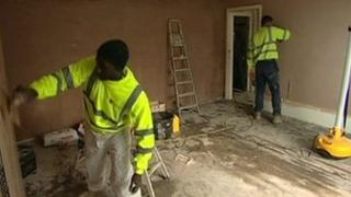 Men renovating a house