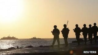 South Korean marines patrol on Yeonpyeong island, March 10