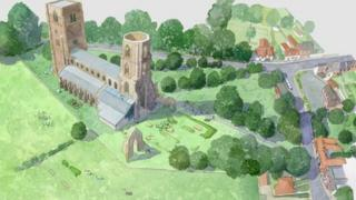Artist's impression of Wymondham Abbey