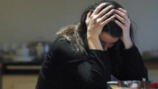 Depression, self-harm generic shot posed by model