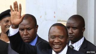 President elect Uhuru Kenyatta greets his supporters - 10 March 2013