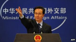 China's Ministry of Foreign Affairs spokesman Hong Lei gestures for questions at a press briefing in Beijing on November 30, 2010.