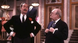 Frank Thornton as Captain Peacock and Arthur Brough as Mr Ernest Grainger in Are You Being Served? in 1973