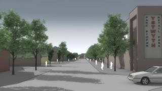 An architect's impression of the tree-lined avenue