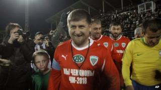 Ramzan Kadyrov at a match inaugurating the Akhmat-Arena in Grozny (2011)