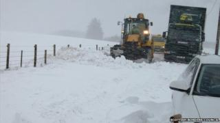Whiteout on A697/Pic: Scottish Borders Council