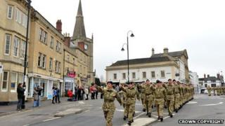 Troops march through Chippenham in January 2012