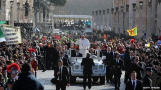 Pope Francis greets the faithful during his Inauguration Mass in St Peter's Square in Vatican City, Vatican, on Tuesday