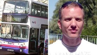 A montage picture of First bus and Dan Farr