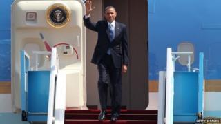 President Obama leaving plane in Israel