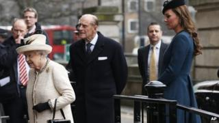The Queen, The Duke of Edinburgh and the Duchess of Cambridge at Baker Street