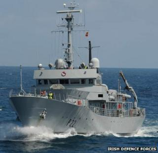 The Irish naval vessel, the L.E. Aoife