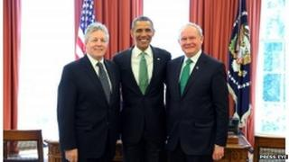 Peter Robinson and Martin McGuinness with President Obama