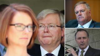 From left, Julia Gillard, Kevin Rudd, Kim Beazley (top right) and Paul Keating (bottom right)