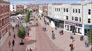 Artist's impression of how Loughborough Market Place would look