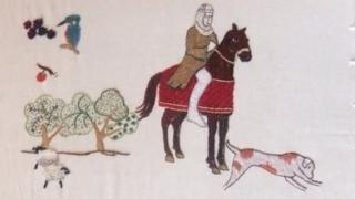 Part of the Odiham embroidery design
