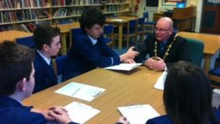 Pupils from Strabane Academy interview the mayor of Derry, Councillor Kevin Curran