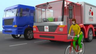 Comparative views of a regular lorry and proposed new design