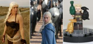 Emilia Clarke as Daenerys (centre), with Game of Thrones fan Roxanna Meta as Daenerys and a Lego Daenerys